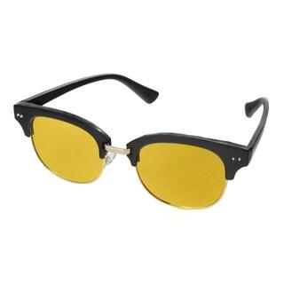 Hot Optix Men's Fashion Plastic/Metal Mirrored Round Sunglasses - Black