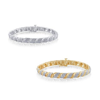 Divina Goldtone or Silver Overlay 1/4ct TDW Diamond Fashion Bracelet (I-J, I2-I3)