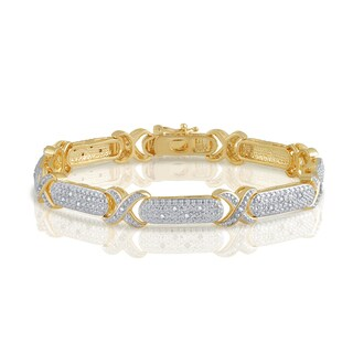 Divina Goldtone 1/4ct TDW Diamond Fashion Bracelet.(I-J, I2-I3).