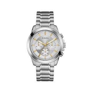 Bulova Men's 96A177 Stainless Steel Classic Silver Dial Chronograph Watch with Luminous Hands
