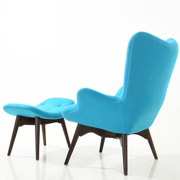 Pleasant Shop Poly And Bark Auzzie Lounge Chair And Ottoman In Blue Dailytribune Chair Design For Home Dailytribuneorg
