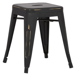 Tribecca Home Salvador Saddle Back 18 Inch Stool In Black