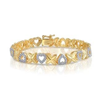 Divina Goldtone Diamond Accent Fashion Heart Bracelet (I-J, I2-I3)