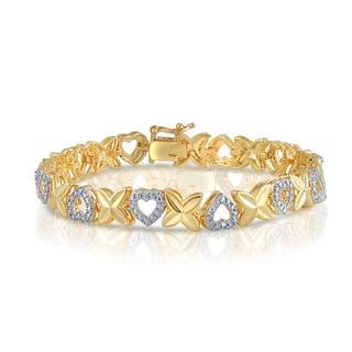 Divina Goldtone Diamond Accent Fashion Heart Bracelet|https://ak1.ostkcdn.com/images/products/12372004/P19197111.jpg?impolicy=medium