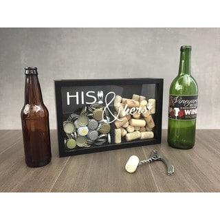 Boston Warehouse His & Hers Black Beer/Wine Cap and Cork Collector