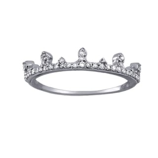 10k White Gold 1/5ct TDW Stackable Crown Diamond Band Ring