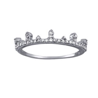 Quinceanera 10k White Gold 1/5ct TDW Stackable Crown Diamond Band Ring