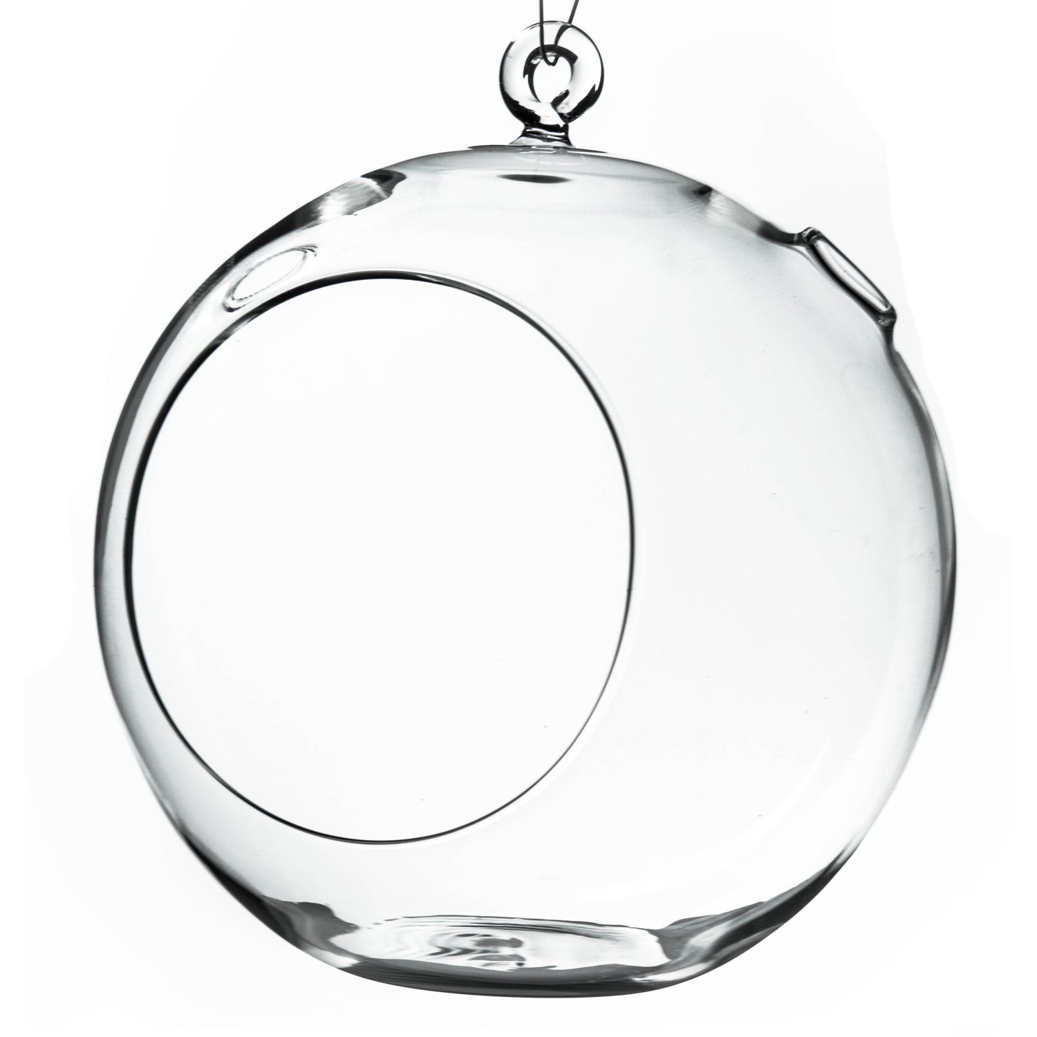 Clear Glass 8-inch Round Hanging Votive Candle Holder & T...