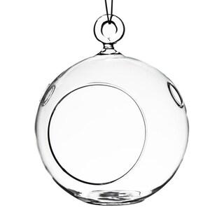 Clear 4-inch Round Hanging Votive Candle Holder / Terrarium Glass Vase (Set of 6)