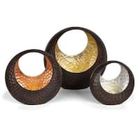 Danya B. Basket Shape Tea Light Holder Set with Gold, Silver & Copper Leaf