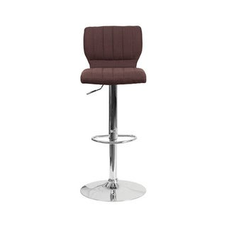 Offex Chrome/Fabric Height-adjustable Swivel Bar Stool