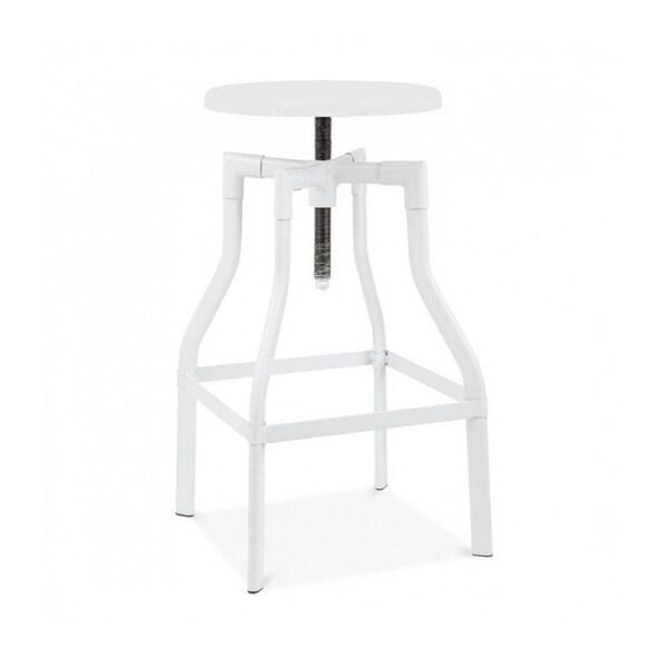 Machinist Glossy White Steel Adjustable Barstool 26-32 Inch