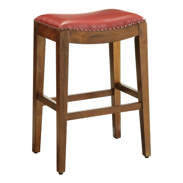 Metro 29 inch saddle style bar stool with nail head accents free shipping today overstock - Saddle style counter stools ...