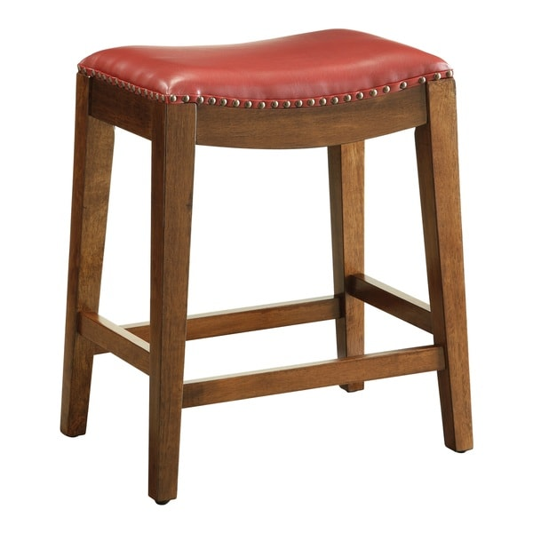 Metro 24 Inch Saddle Stool With Nail Head Accents Free