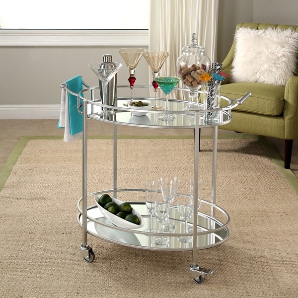 Abbyson Marriot Mirrored Oval Bar Cart Free Shipping