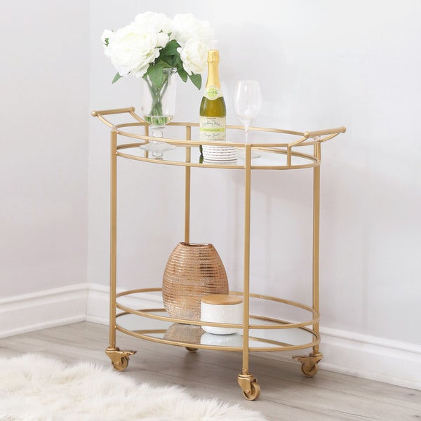 Marriot Mirrored Oval Bar Cart By Abbyson. Opens flyout.