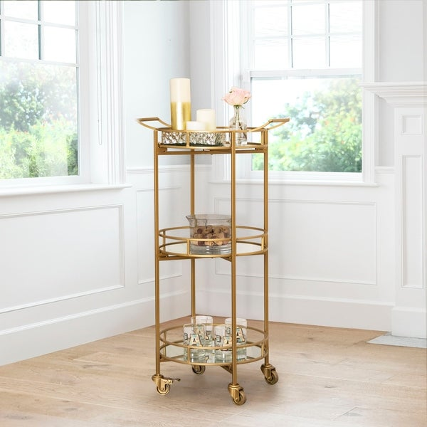 Marriot 3-tier Cylinder Bar Cart By Abbyson