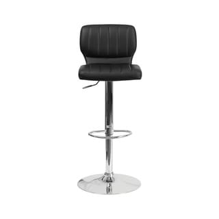 Offex Contemporary Vinyl Upholstery Height Adjustable Barstool with Chrome Base