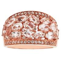 Sterling Silver 14K Rose Gold Plate Morganite Wide Band with Oval Stones and Round White Zircon