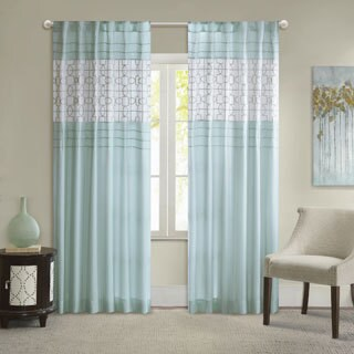 Madison Park Jeffrey Soft Touch Aqua Curtain Panel