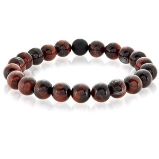 Crucible Red Tiger Eye and Matte Onyx Bead Stretch Bracelet (10mm)