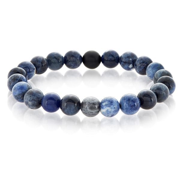 Crucible Sodalite and Matte Onyx Bead Stretch Bracelet (10mm) - Blue