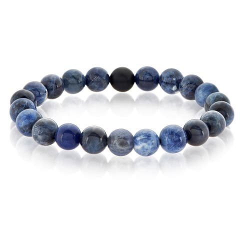 Crucible Sodalite and Matte Onyx Beaded Stretch Bracelet (10mm)