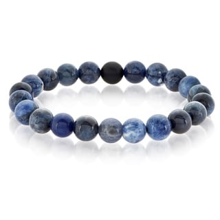 Crucible Men's Polished Sodalite and Matte Black Onyx Bead Stretch Bracelet - 8.5 inches (10mm Wide)