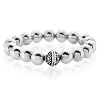 Crucible Men's High Polish Solid Stainless Steel Bead Stretch Bracelet - 8 inches (12mm Wide)