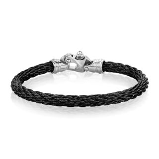 Crucible Men's Stainless Steel Cable Rope Bracelet - 8.5 inches (16mm Wide)