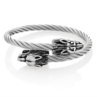 Crucible Men's Stainless Steel Twin Wolf Bypass Cable Cuff Bracelet - 9 inches (24mm Wide)