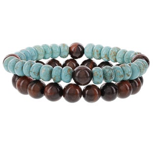 Fox and Baubles Red Tiger Eye and Turquoise Men's Beaded Stretch Bracelets