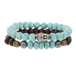 Fox and Baubles Brass Buddha, Turquois, Chocolate Wood, Turquiose Rondells, Hematite and Spacers Men's Beaded Stretch Bracelets