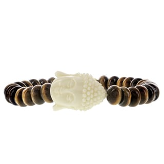 Fox and Baubles Mens' Brass Disc/Tiger Eye Rodells/Resin Buddha Beaded Stretch Bracelet