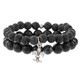 Fox and Baubles Matte Black Agate, Crackle Bead, and Lavastone Beaded Stretch Bracelets With Fleur de Lis Accents