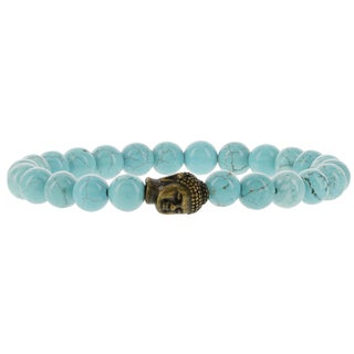 Fox and Baubles Men's Turquoise with Brass Buddha Beaded Stretch Bracelet