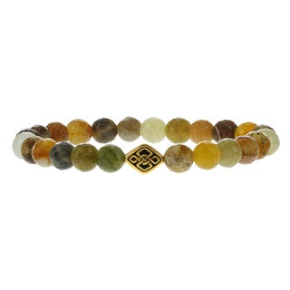 Fox and Baubles Brass Eternity Spacer with Botswana Agate Men's Beaded Stretch Bracelet