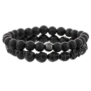 Fox and Baubles Magnesite Skulls, Matte Black Agate and Hematite Men's Beaded Stretch Bracelets