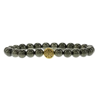 Fox and Baubles Men's Pyrite and Brass Eternity Spacer Beaded Stretch Bracelet