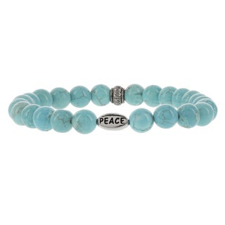 Fox and Baubles Brass 'Peace' Turquoise Men's Beaded Stretch Bracelet