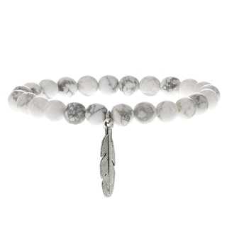 Fox and Baubles Men's Brass Feather and Howlite Beaded Stretch Bracelet