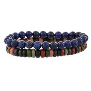 Fox and Baubles Multicolor Wood Rondell/Blue Agate Beaded Stretch Bracelets