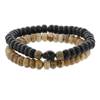 Fox and Baubles Brass Jasper/Matte Black Agate With Skull Beaded Stretch Bracelets (Set of 2)