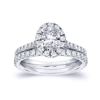 Auriya Platinum 1ct TDW Oval Diamond Bridal Ring Set (H-I, SI1-SI2)