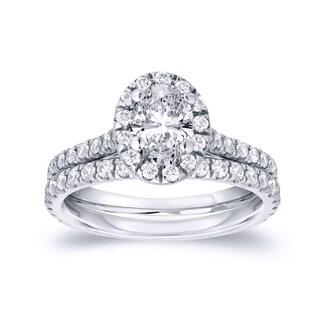 Auriya Platinum Certified 1ct TDW Oval-Cut Diamond Halo Engagement Ring Bridal Set