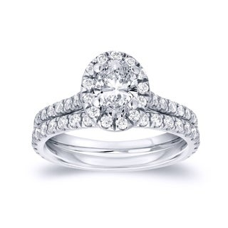 Marvelous Auriya Platinum Certified 1ct TDW Oval Cut Diamond Halo Engagement Ring  Bridal Set Design Inspirations