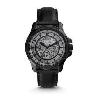 Fossil Men's ME3130 Dean Automatic Skeleton Dial Black Leather Watch