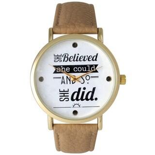 Olivia Pratt Women's Inspirational Words Leather Strap Quatz Watch