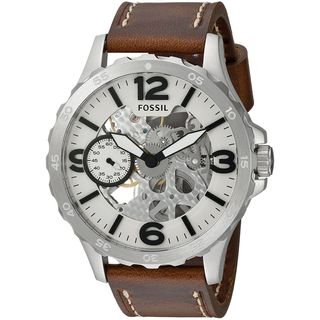 Fossil Men's Nate Automatic Skeleton Dial Brown Leather Watch