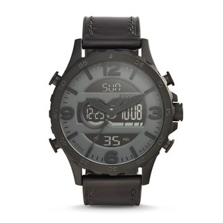 Fossil Men's JR1520 Nate Ana-Digi Black Dial Black Leather Watch